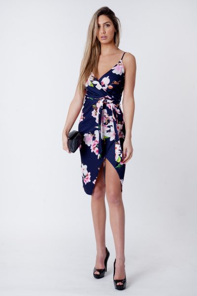 Chloe Navy Cami Wrap Floral Midi Dress
