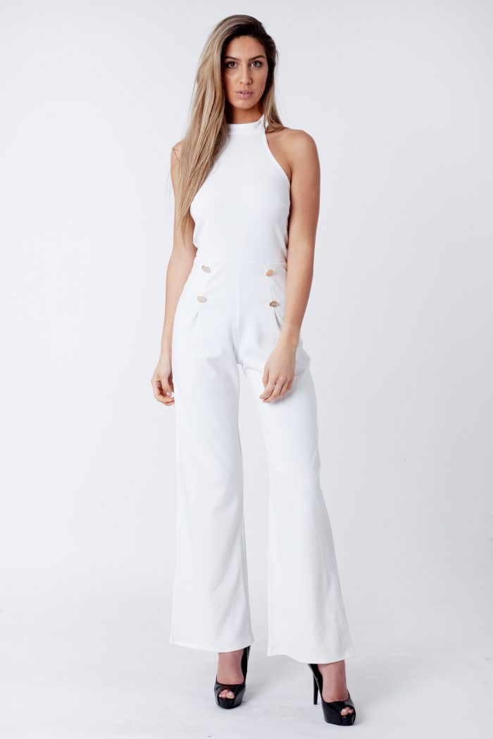 Cream Halterneck Sleeveless Jumpsuit