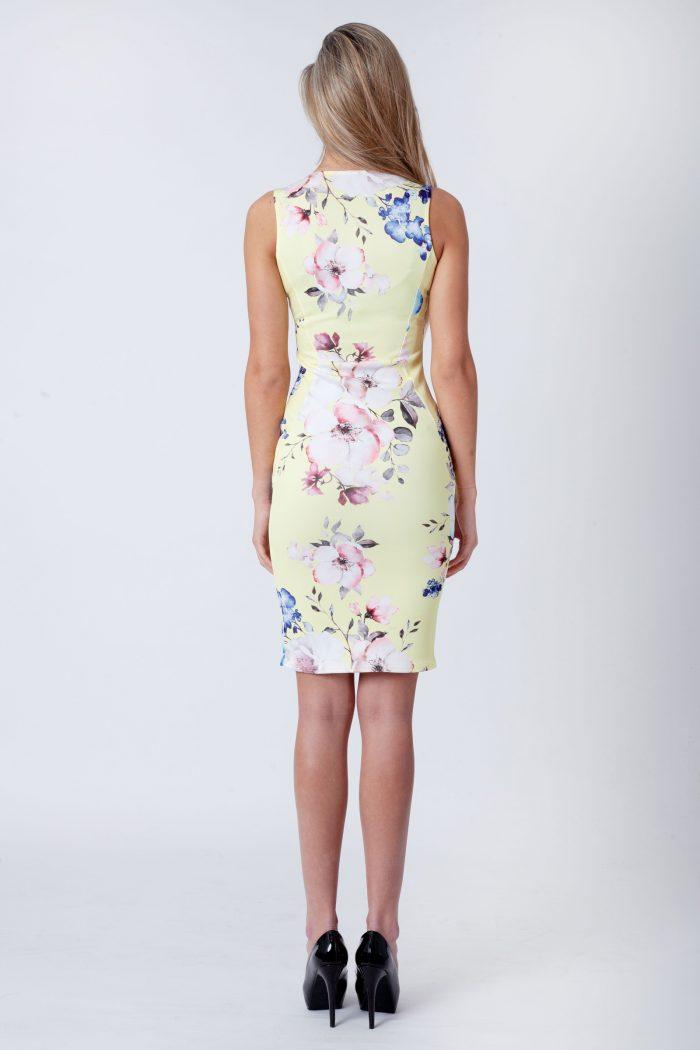 Lemon-Yellow-Floral-Sleeveless-V-Bar-Bodycon-Dress