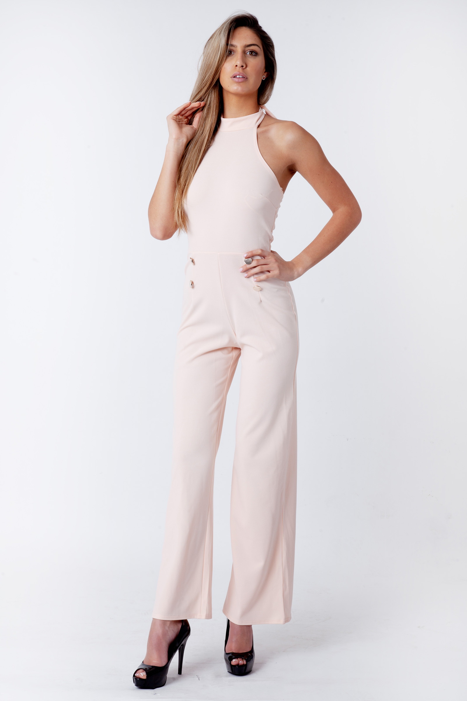 Isabelle Nude Halterneck Sleeveless Jumpsuit   Fashion