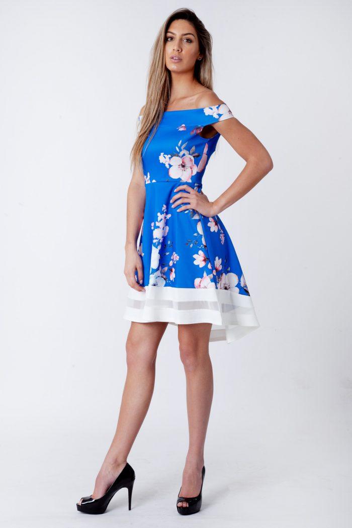 Royal Blue Floral Bardot Dip Mesh Hem Dress