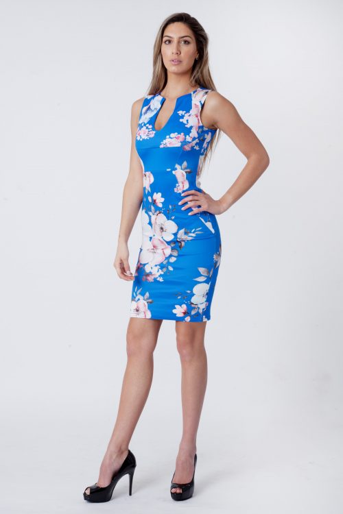 Royal Blue Floral Sleeveless V-Bar Bodycon Dress