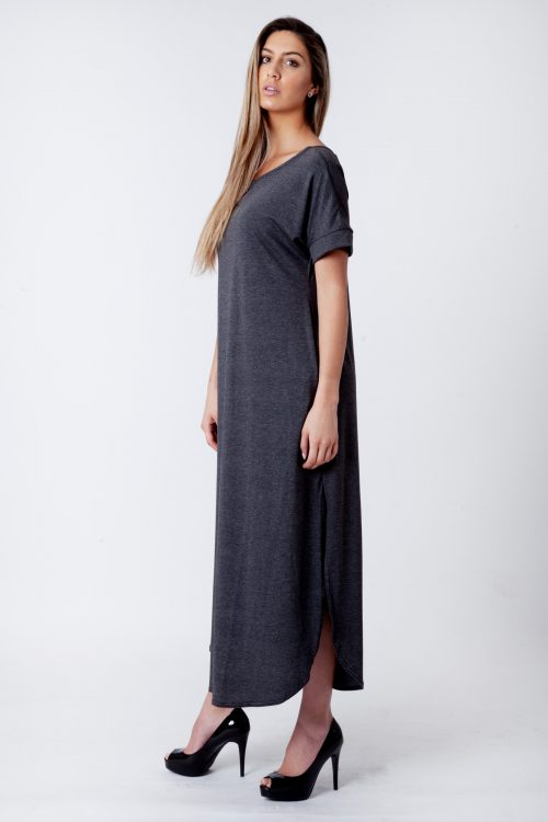 Evie Charcoal Side Slit Maxi Dress
