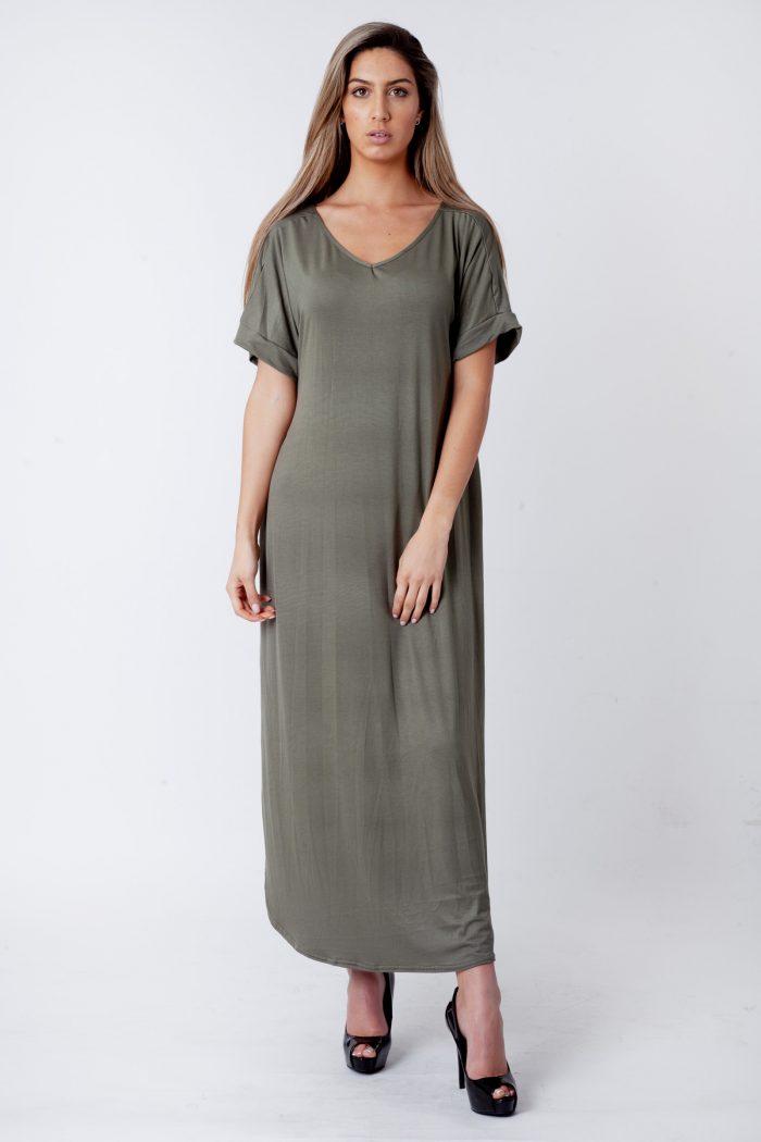 Evie Khaki Side Slit Maxi Dress
