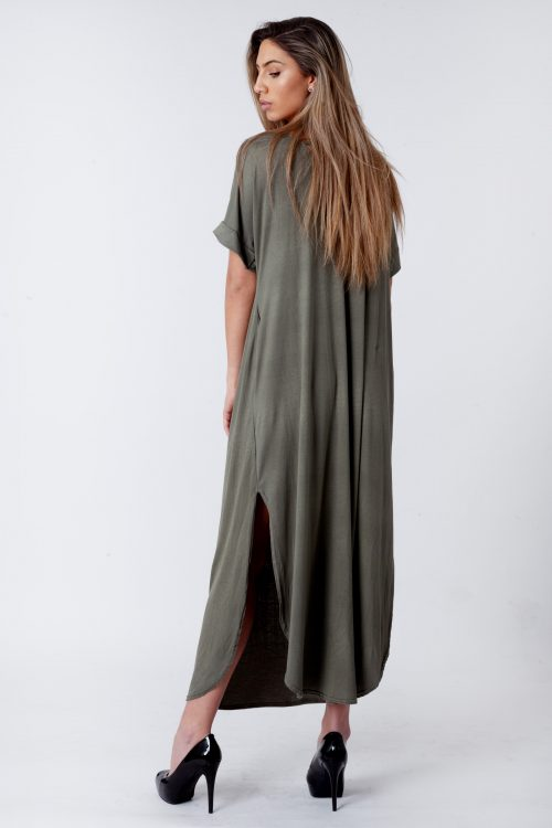 Evie Khaki Side Slit Maxi Dress