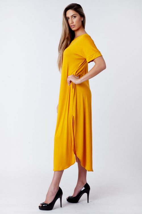 Evie Mustard Side Slit Maxi Dress