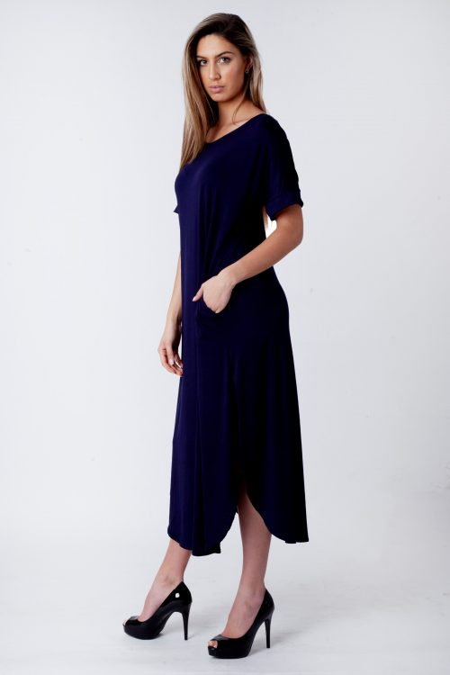 Evie Navy Side Slit Maxi Dress