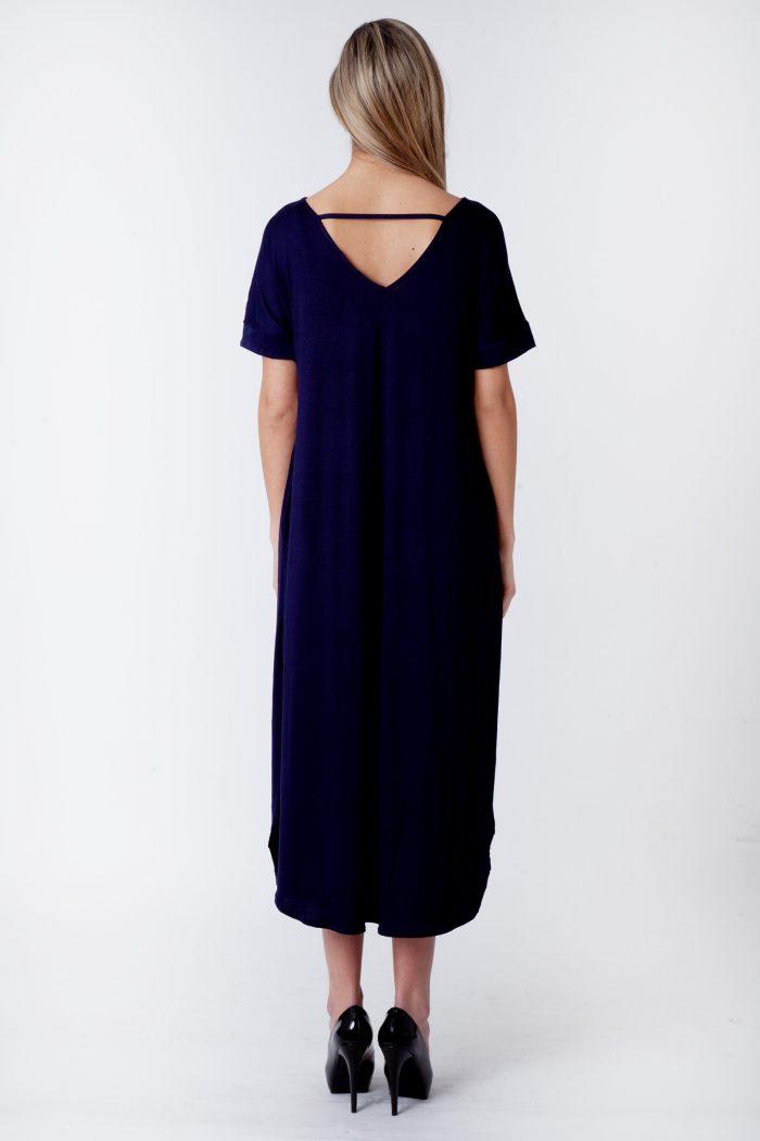 Evie Navy Side Slit Maxi Dress