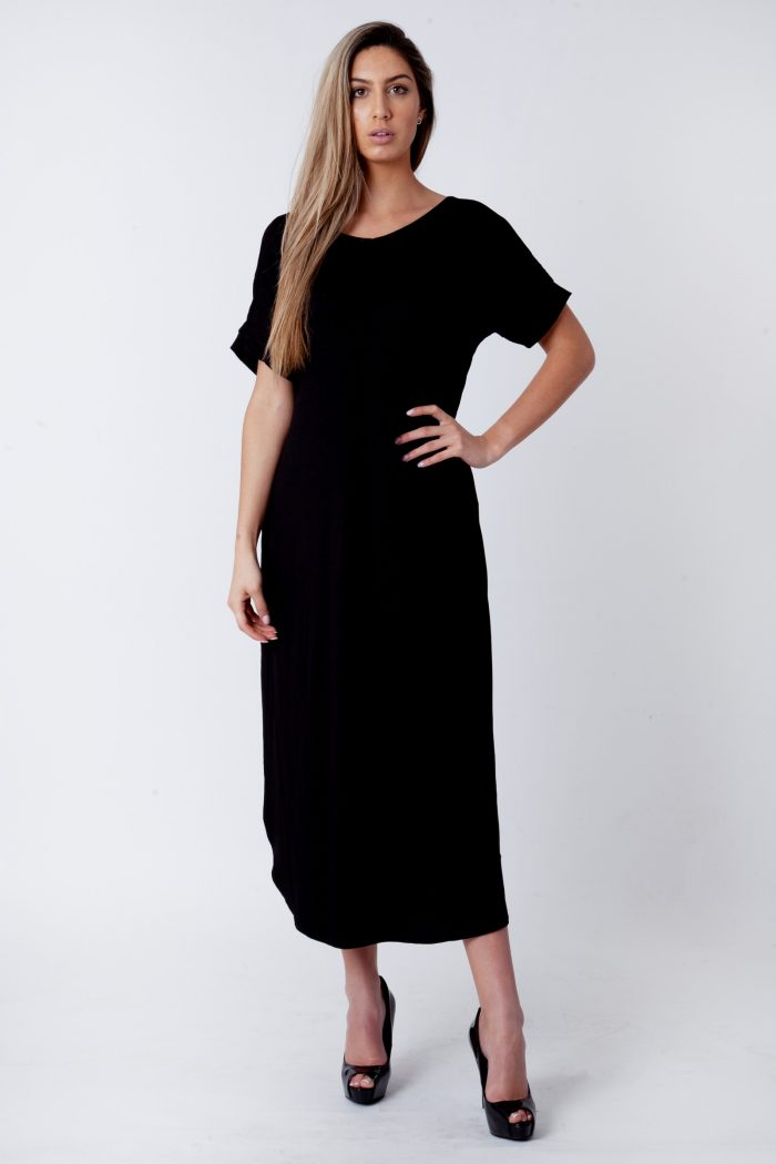 Evie Black Side Slit Maxi Dress