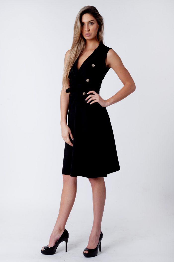Farrah Black Blazer Button Sleeveless Midi Dress