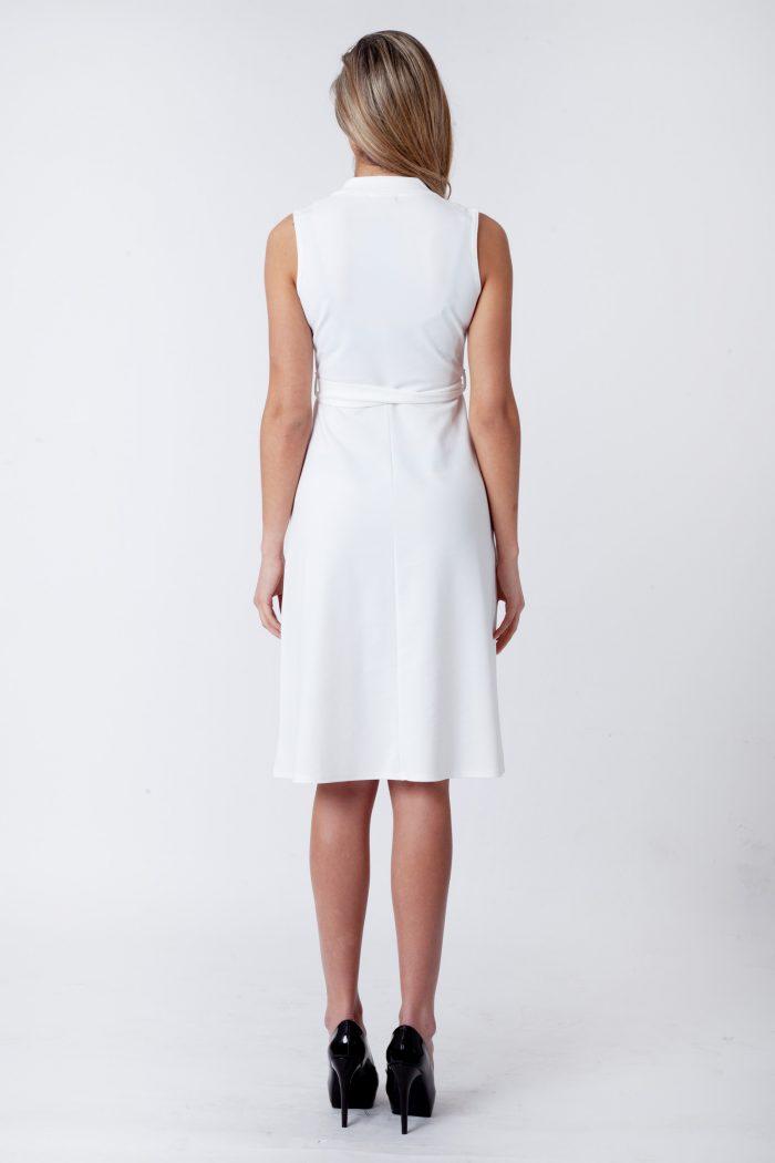 Farrah Cream Blazer Button Sleeveless Midi Dress