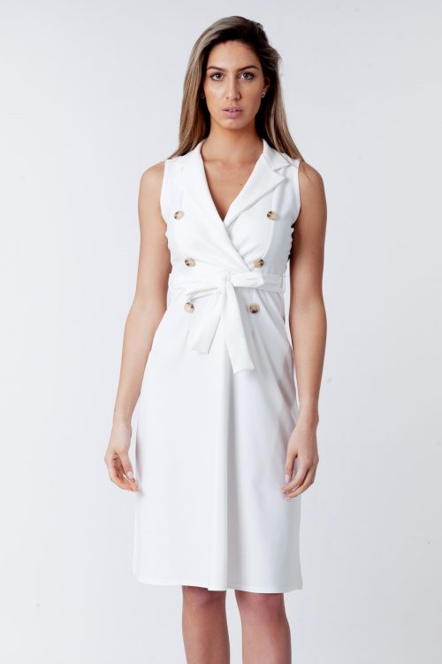Farrah Cream Blazer Button Sleeveless Midi Dress