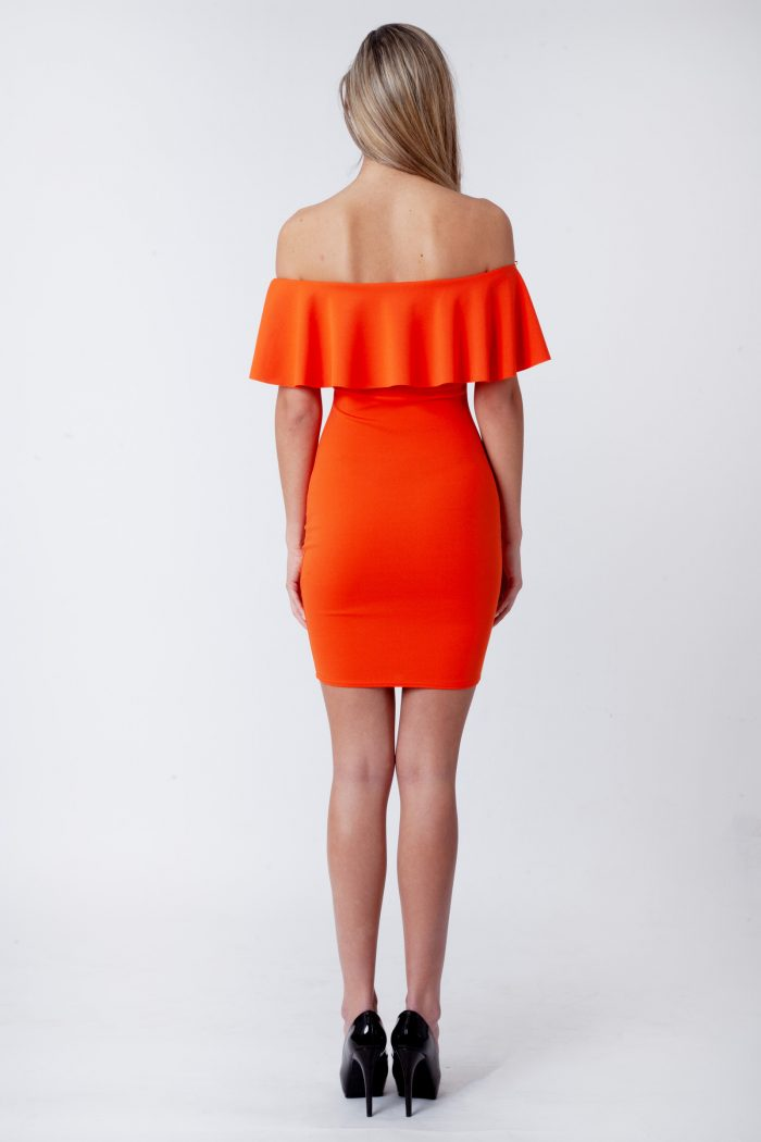 Orange Off The Shoulder Bodycon Dress