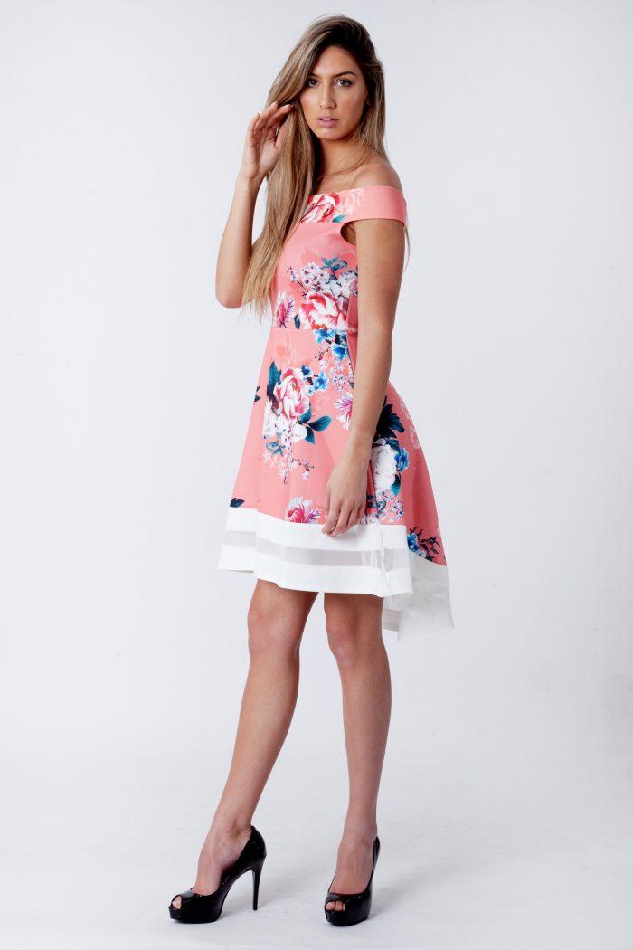 Rose Pink Floral Bardot Dip Mesh Hem Dress