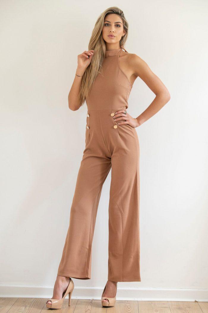 Camel Halterneck Sleeveless Jumpsuit