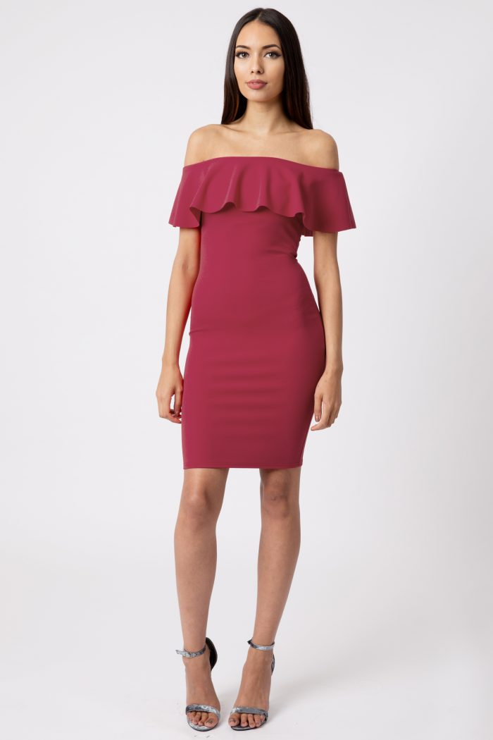 Wine Off The Shoulder Bodycon Dress