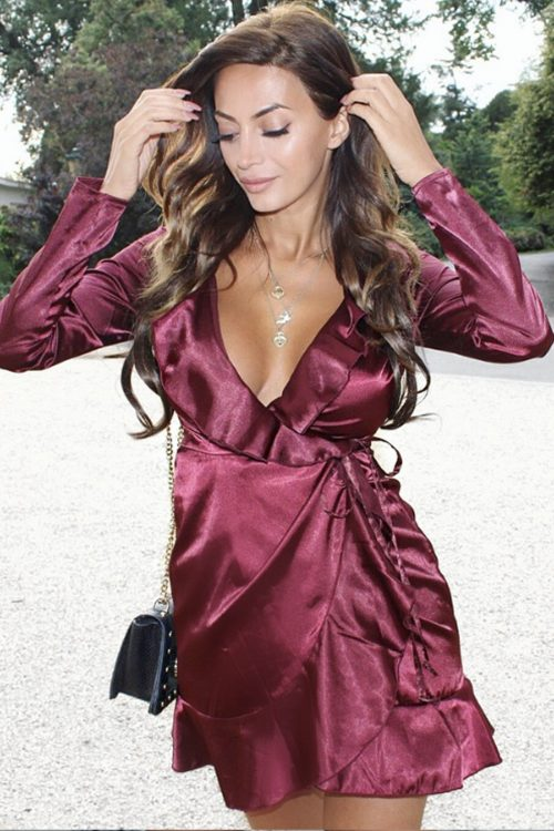 Satin tie wrap dress