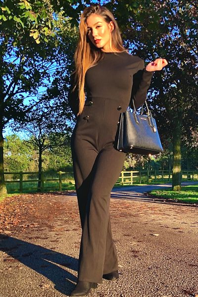 Black High Neck Long Sleeve Jumpsuit