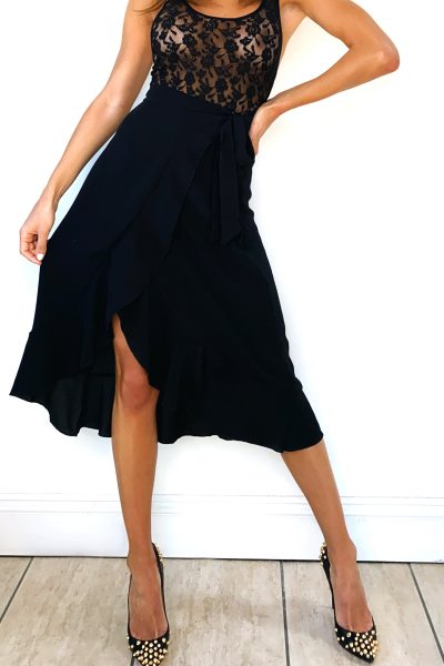 Black Tie Waist Wrap Skirt