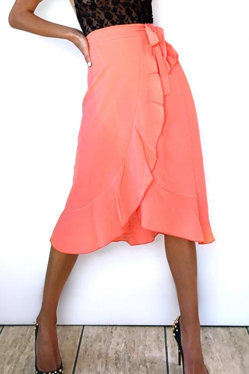 Coral Tie Waist Wrap Skirt