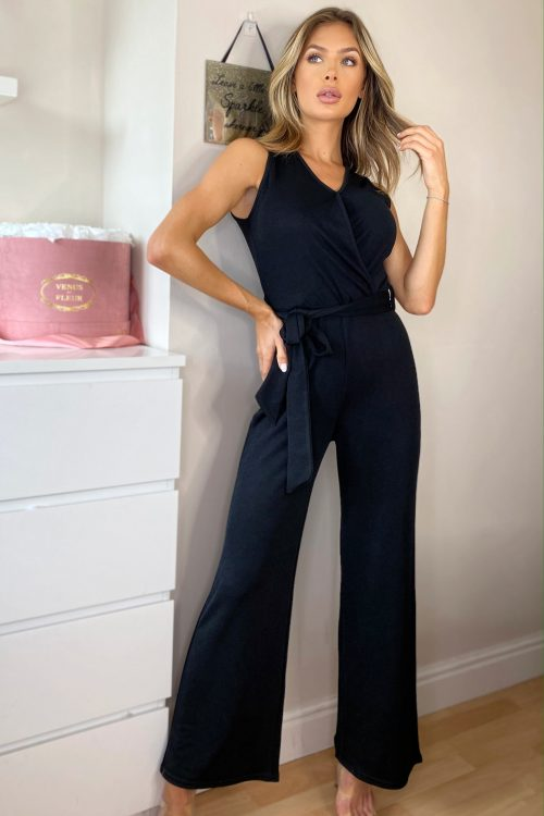 black wrap jumpsuit